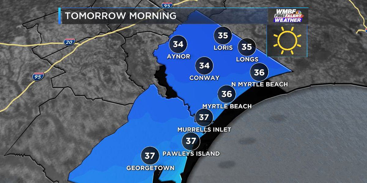 FIRST ALERT: Freeze warning tonight for the Pee Dee, frost likely elsewhere
