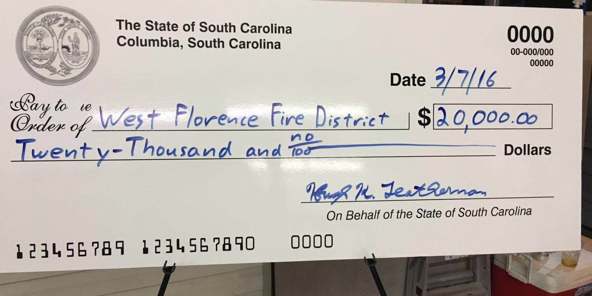 West Florence Fire Department receives $20,000 in state funding for new equipment