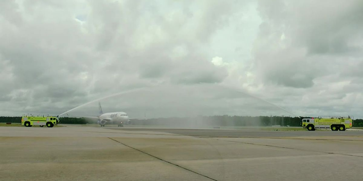 Retiring airline pilot receives water cannon salute