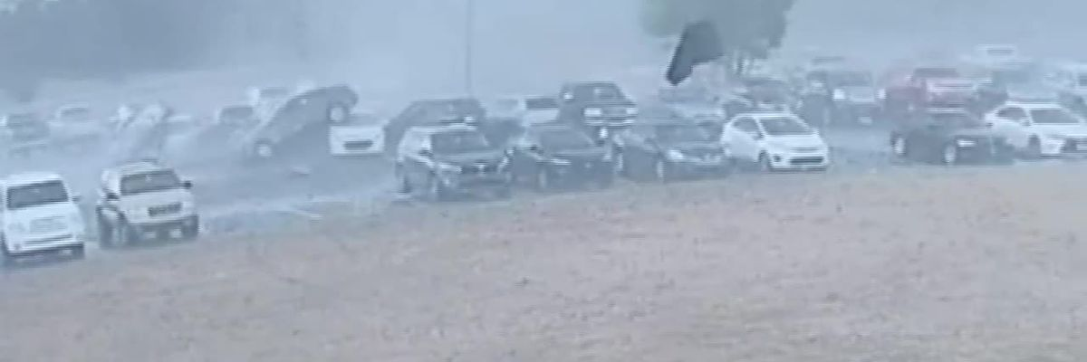 RAW: Moment tornado blows through Loris High School's parking lot