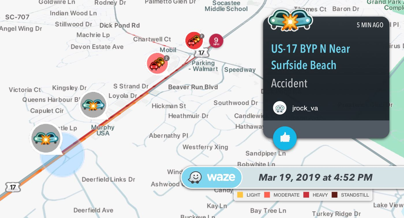 TRAFFIC ALERT: Crash causing a slowdown on Highway 17 Bypass