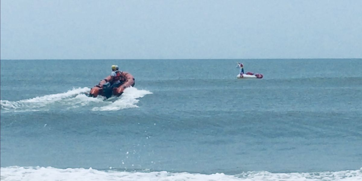 Boy on unicorn raft rescued at sea in NC