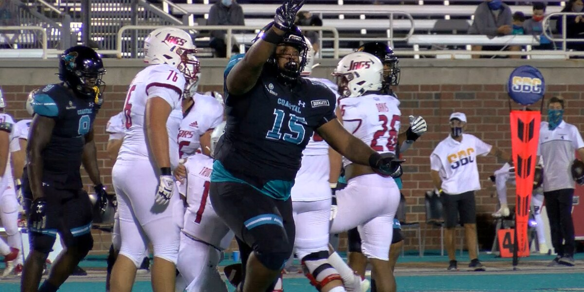 No. 15 Coastal Carolina swarms Jaguars in 23-6 homecoming win