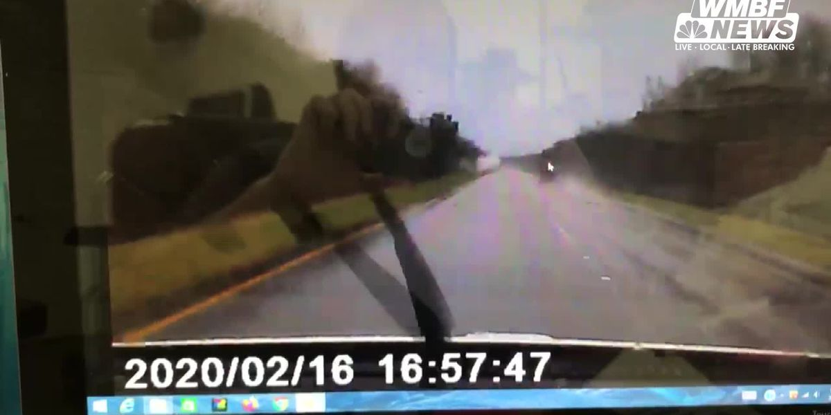 DASHCAM VIDEO: A driver's dashcam captured a vehicle plunging into the Little Pee Dee River