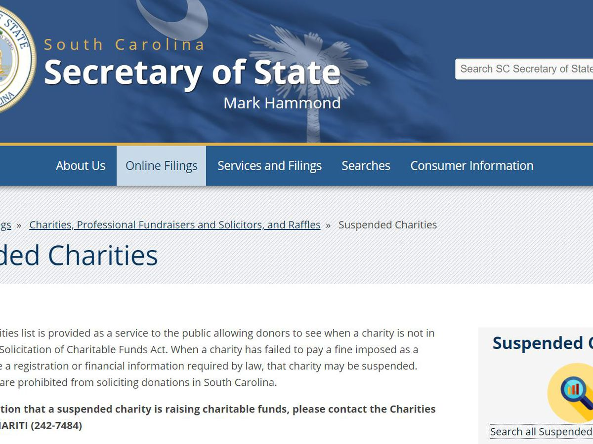 S.C. Secretary of State suspends hundreds of charities, including in Horry County