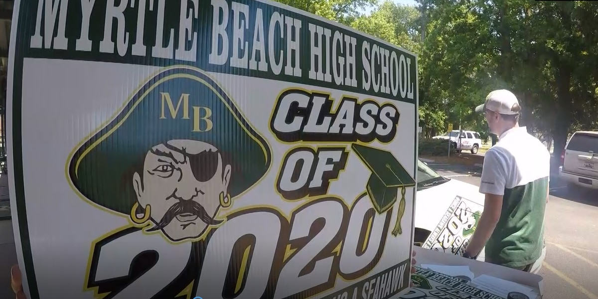 Myrtle Beach High School seniors pick-up caps, gowns in drive-thru fashion
