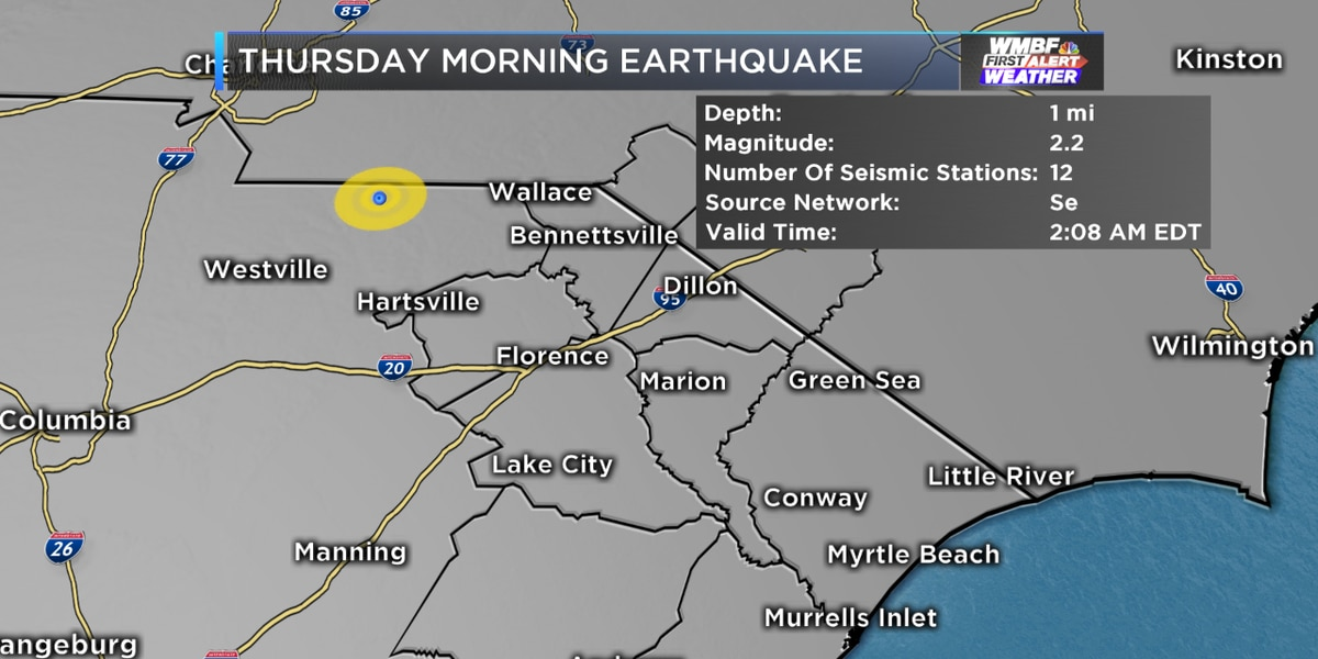 Small earthquake recorded in South Carolina Thursday