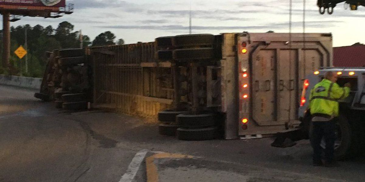 Overturned truck at Forestbrook Road entrance ramp to Highway 501 causing delays
