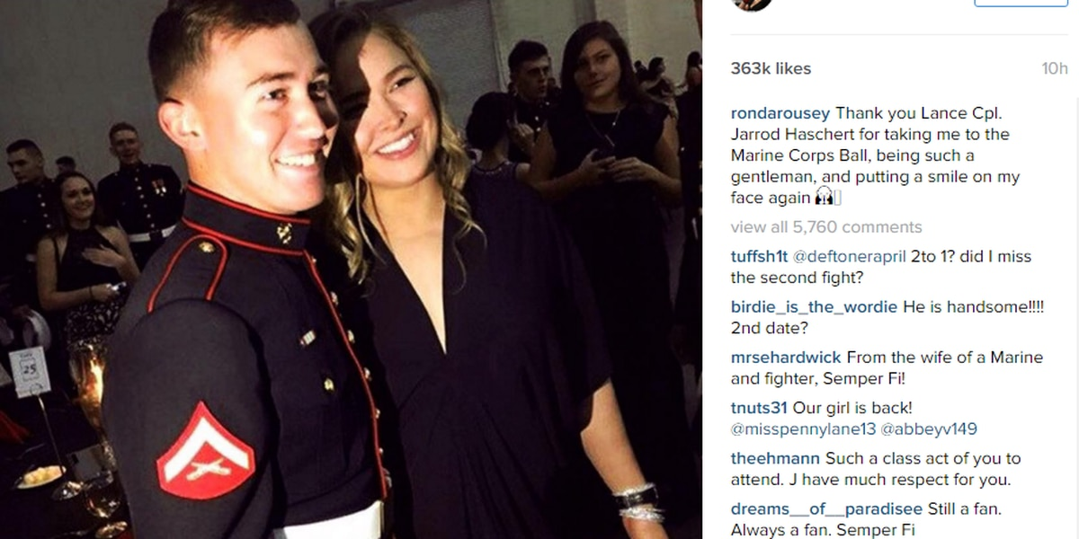 UFC's Ronda Rousey visits Myrtle Beach for Marine Corps Ball