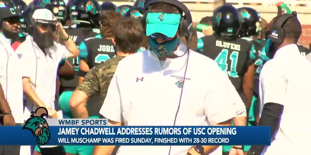 CCU head coach Jamey Chadwell addresses rumors he's a candidate for South Carolina opening