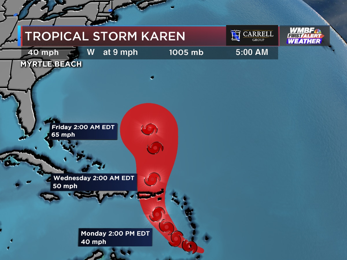 FIRST ALERT: Tropical Storm Karen forms, Lorenzo in the next couple of days?