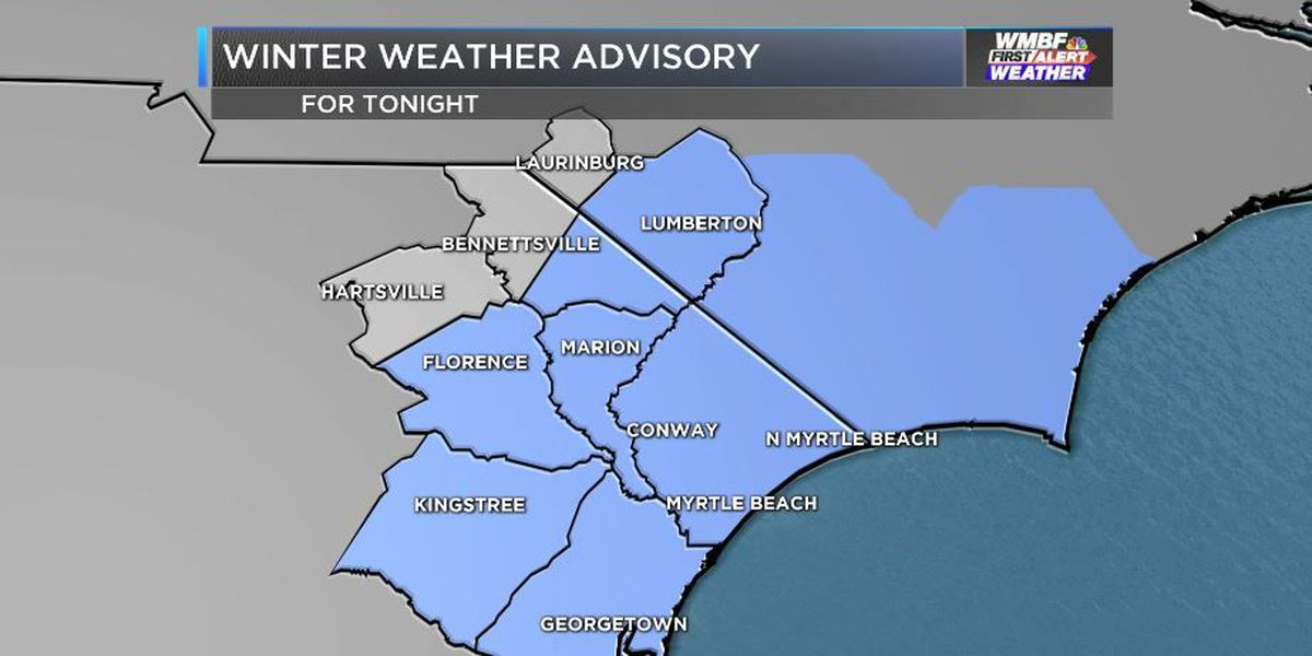Winter Weather Advisory could impact NYE plans tonight in Grand Strand and Pee Dee