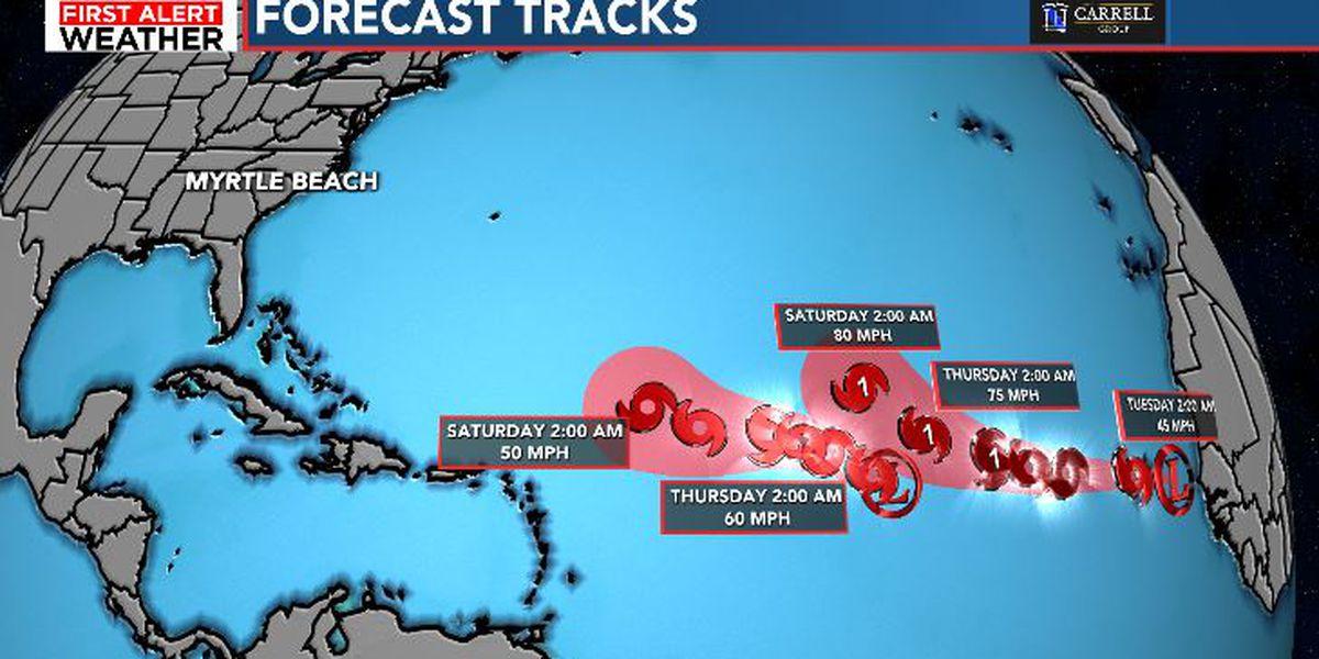 Tropical Storm Nana has weakened