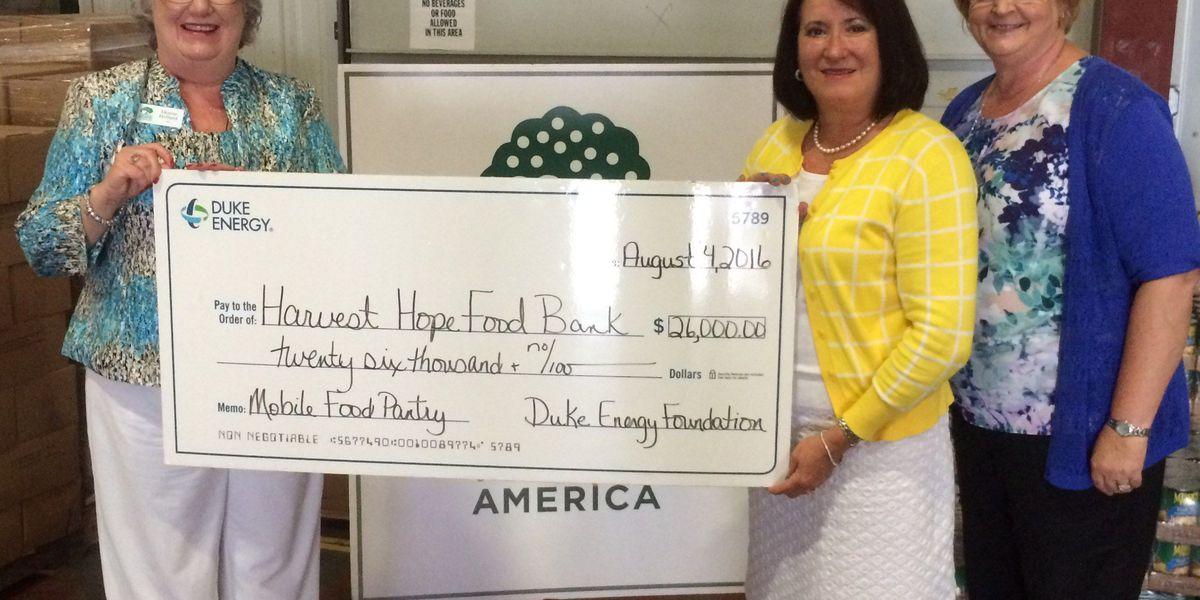 Duke Energy Foundation gives Harvest Hope Food Bank $26,000 grant