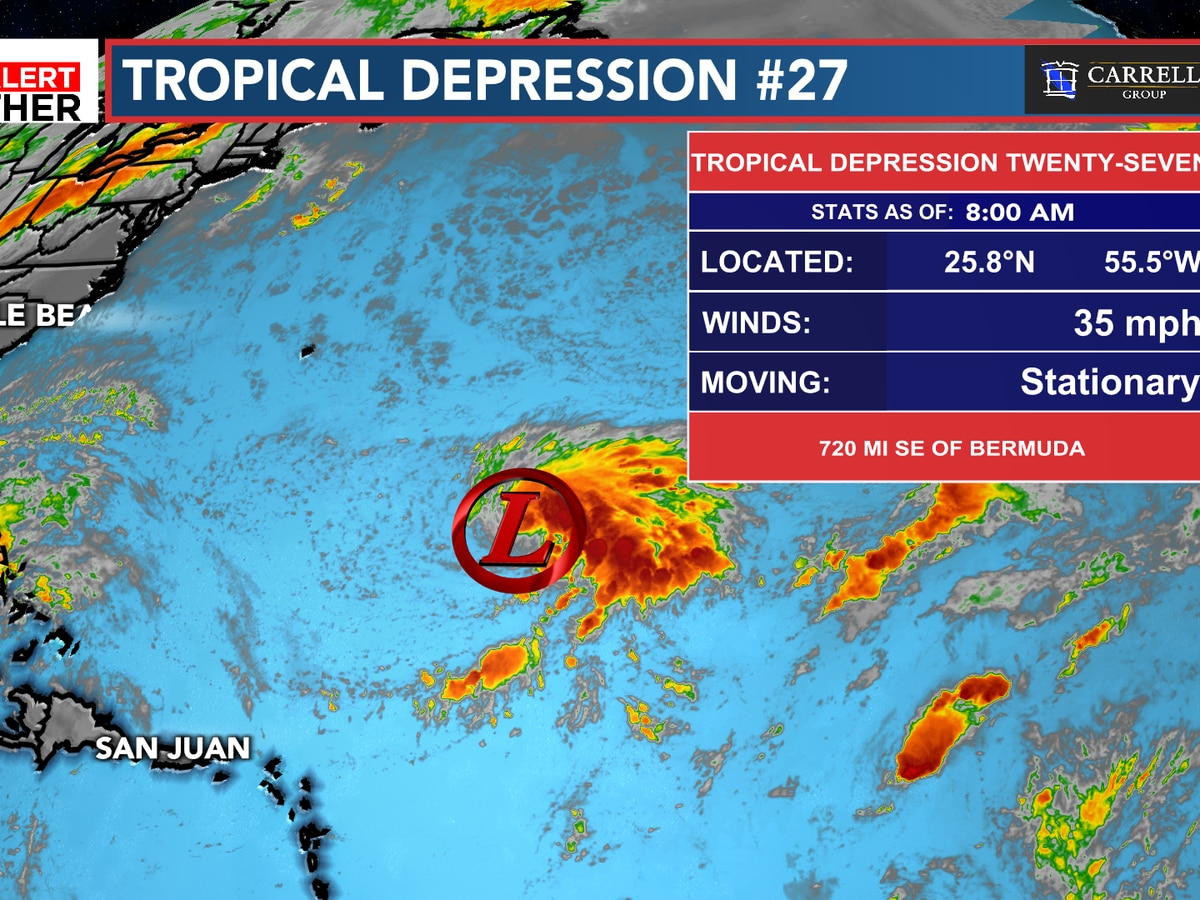 FIRST ALERT: Tropical Depression 27 forms in the Atlantic, expected to become Epsilon later today