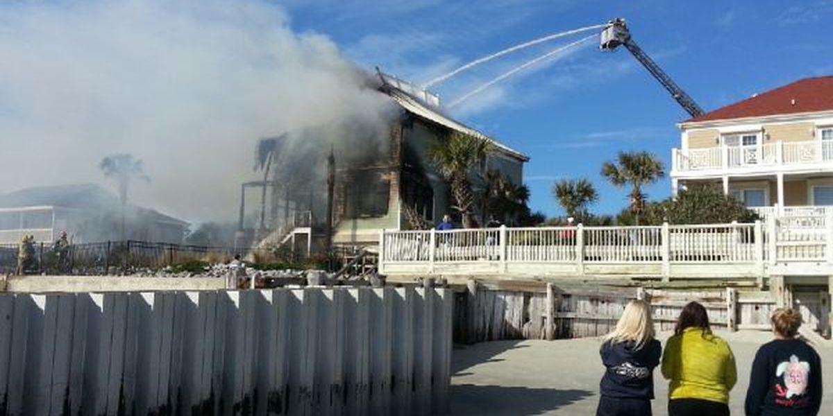Flames rekindle at Murrells Inlet beach house Monday night