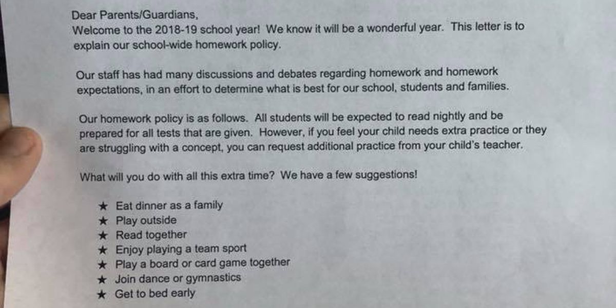 "Horry County Schools clarifies ""no homework"" policy"