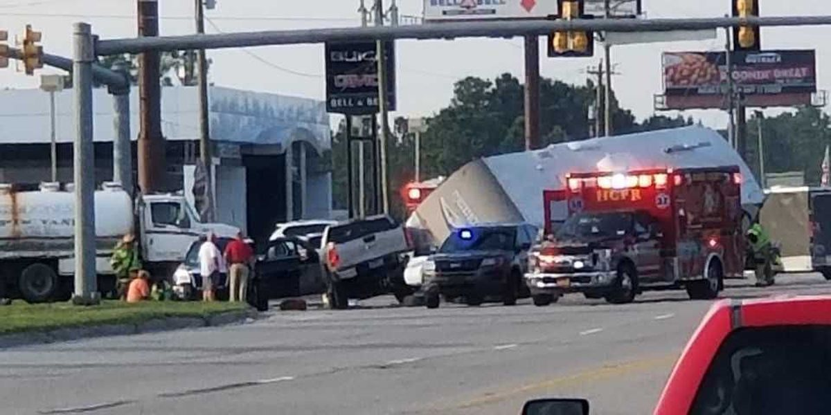 Traffic accident on Highway 9 near intersection of Highway 57 causing delays