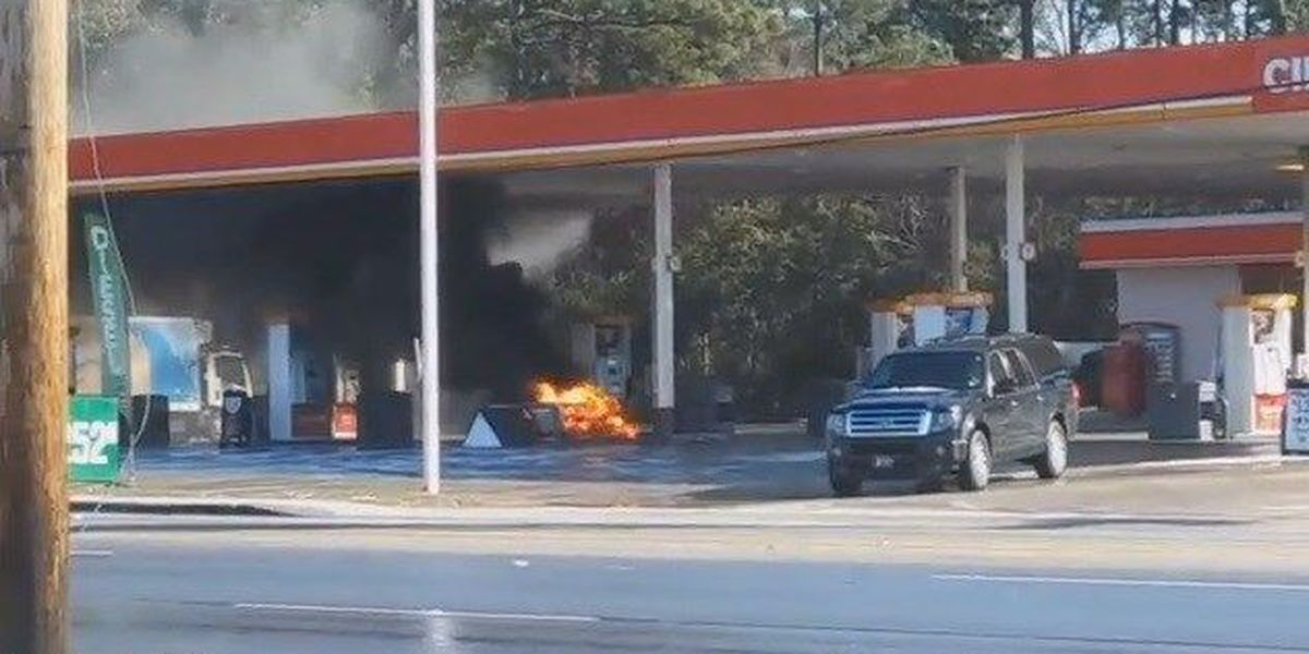 Vehicle leaves scene after striking fuel pump, causing fire, officials say