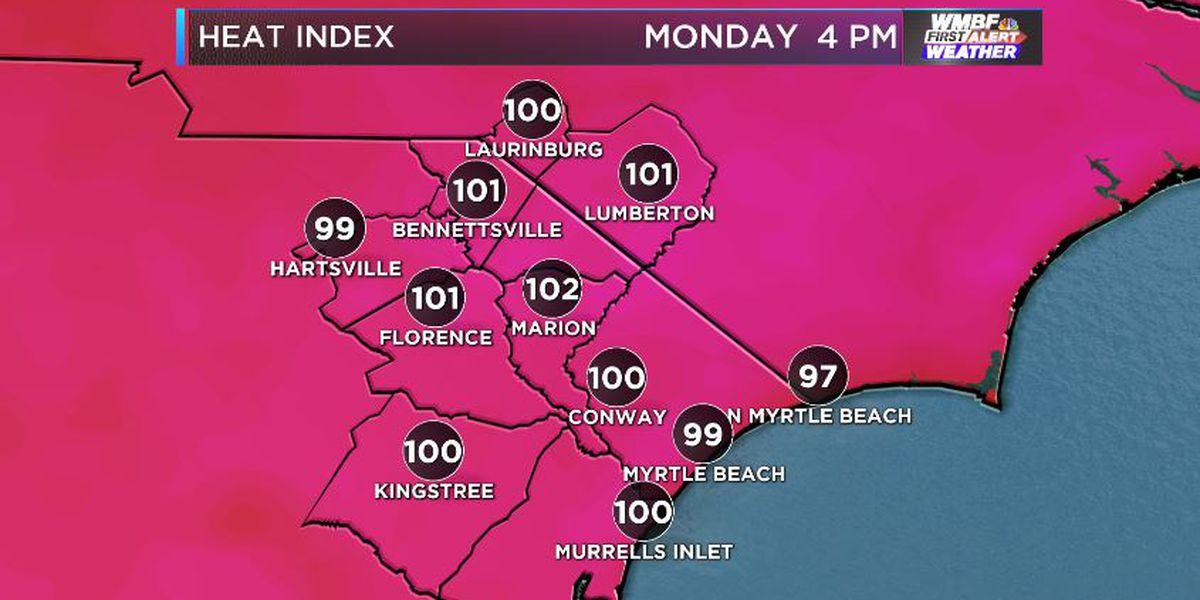 FIRST ALERT: Summer heat index heads above 100 the next few days