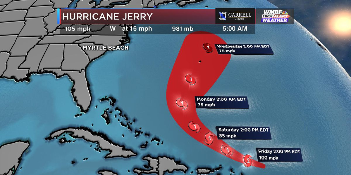 Hurricane Jerry strengthens as it nears Caribbean