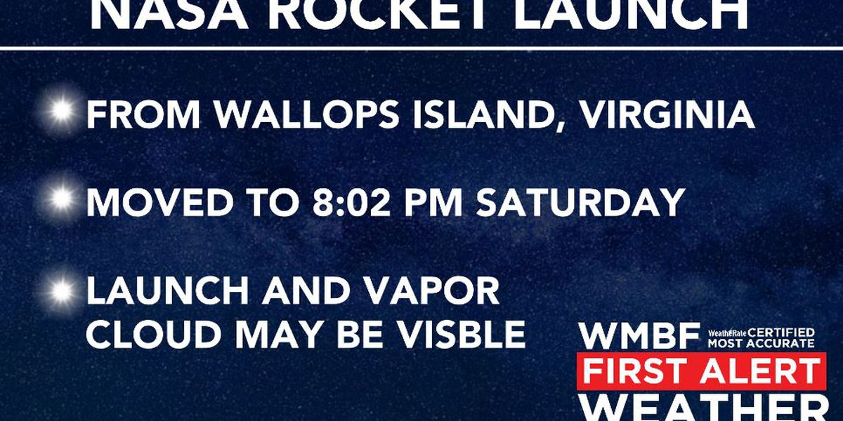 FIRST ALERT: NASA rocket launch moved to Saturday.