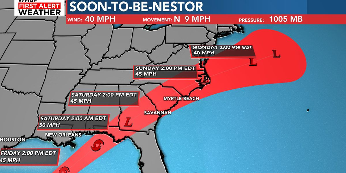 FIRST ALERT: Soon-to-be-Nestor to bring rain, small tornado threat this weekend