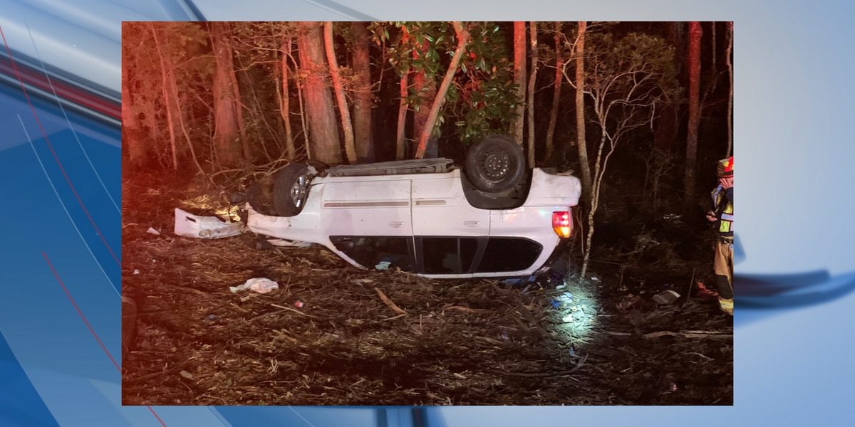 1 injured after rollover crash in Georgetown County, crews say