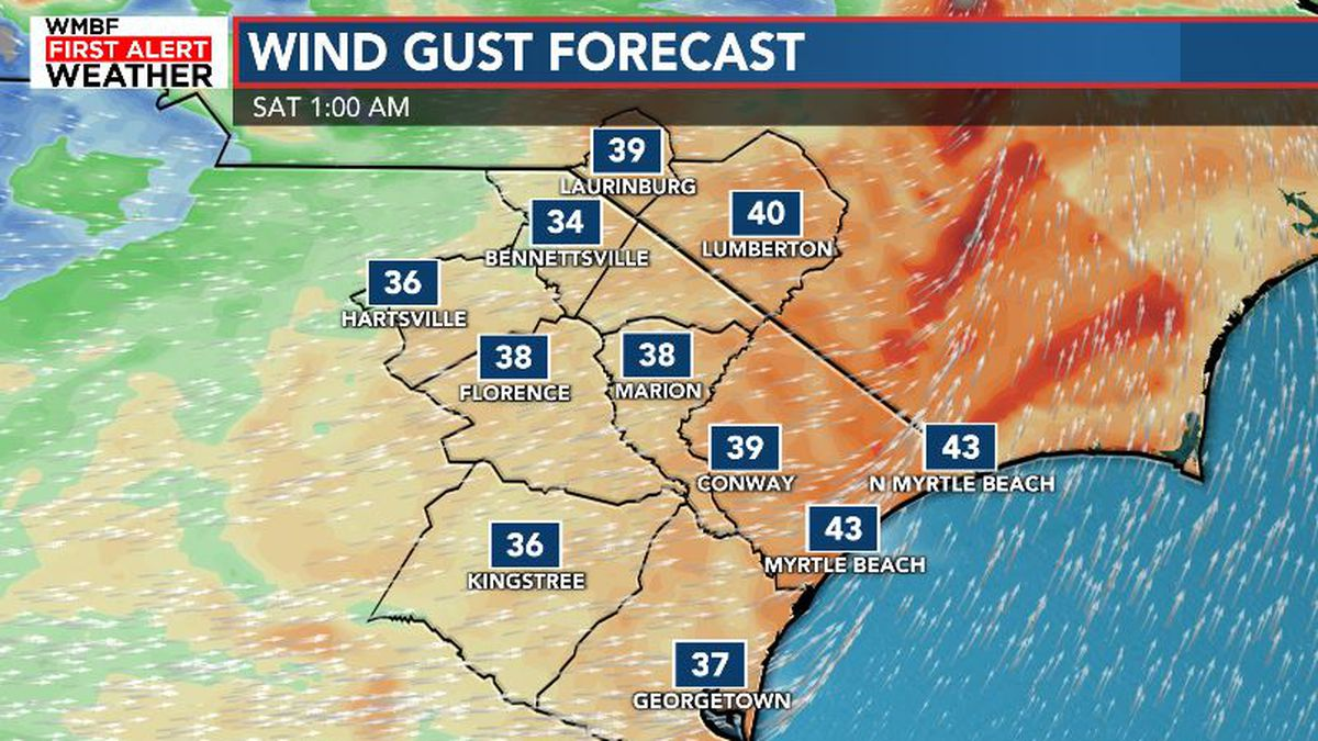 FIRST ALERT: Showers and strong wind gusts arrive tonight.