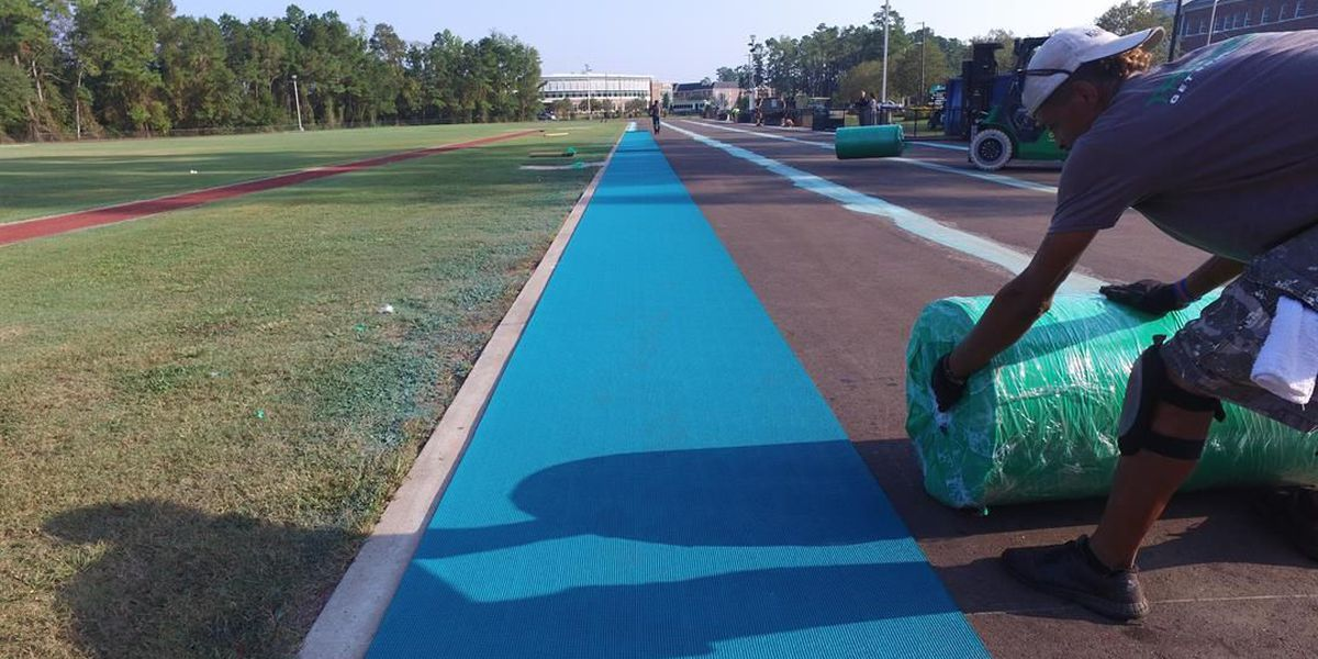 CCU track surface is going teal
