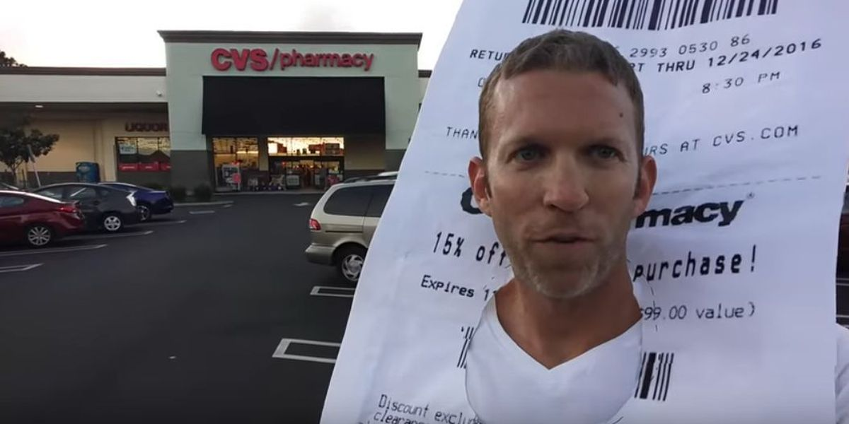 VIDEO: Man dressed as giant receipt shops at CVS