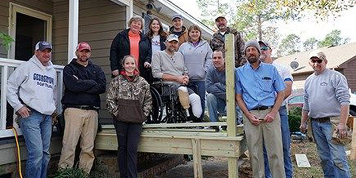 Group builds wheelchair ramp for man following storm damage from Matthew