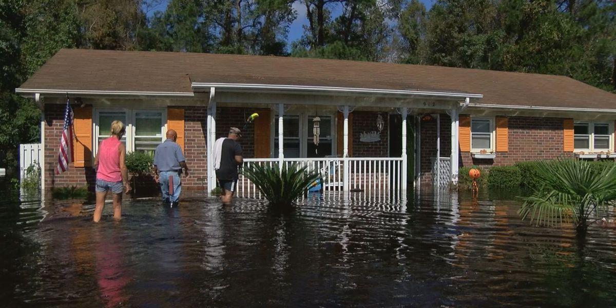 Houses flooded in Bridge Creek neighborhood in Socastee