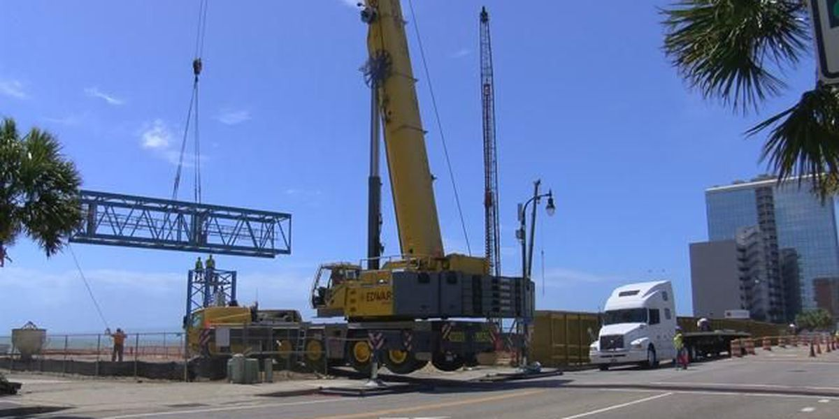 Crane installation for new oceanfront hotel affecting traffic for portion of Ocean Boulevard