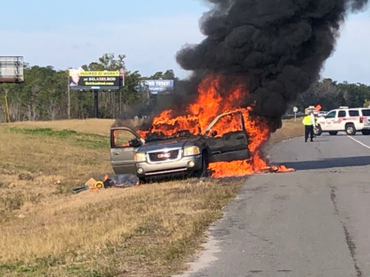 One sent to hospital after vehicle fire on U.S. 501 in Myrtle Beach area