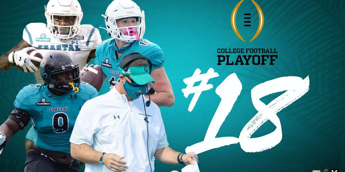 Coastal Carolina ranked No. 18 in latest College Football Playoff Poll