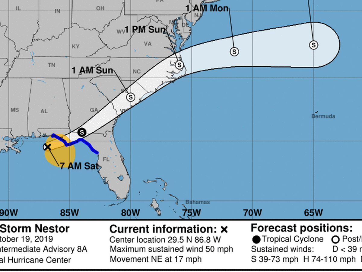 Nestor makes landfall on Florida island, heads north