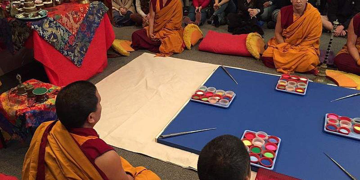 Tibetan monks begin mandala sand painting at Myrtle Beach art museum