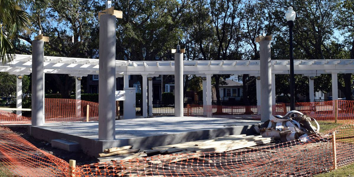 Construction of stage at Chapin Park underway