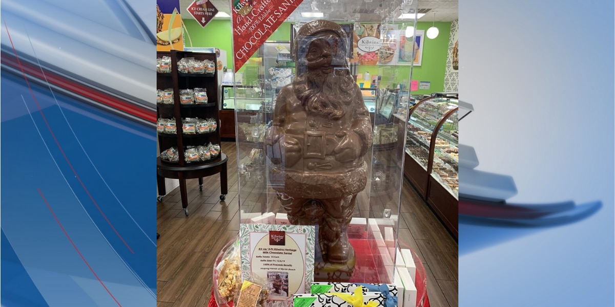 Myrtle Beach business uses 22 lb. chocolate Santa to help those in need
