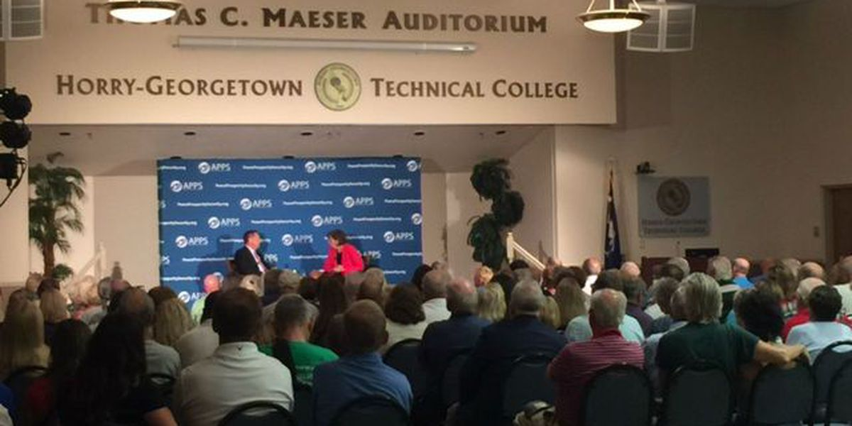 Republican presidential hopeful John Kasich speaks to constituents in Horry County