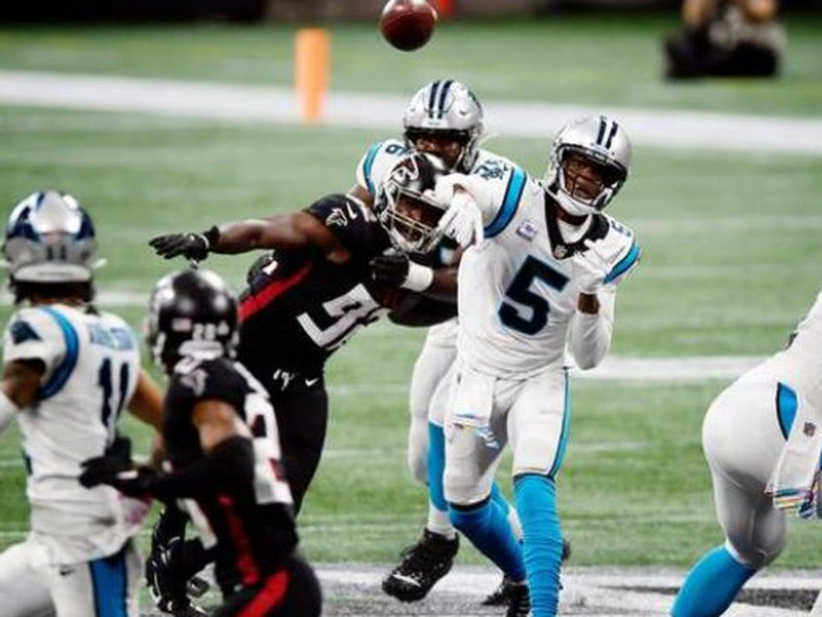 Bridgewater's 2 TDs, Burris pick lead Panthers over Falcons