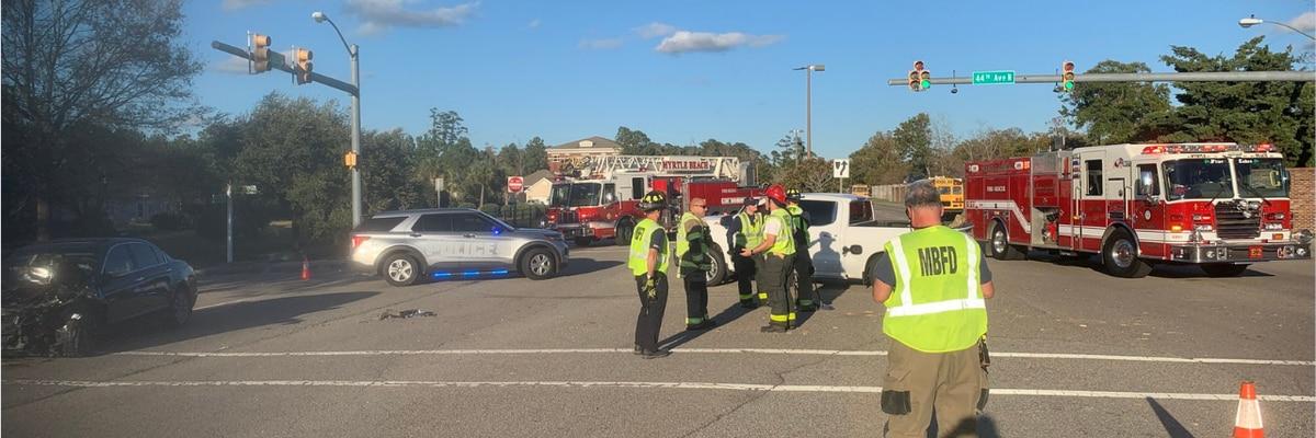 TRAFFIC ALERT: Two-vehicle crash blocks part of Robert Grissom Parkway in Myrtle Beach