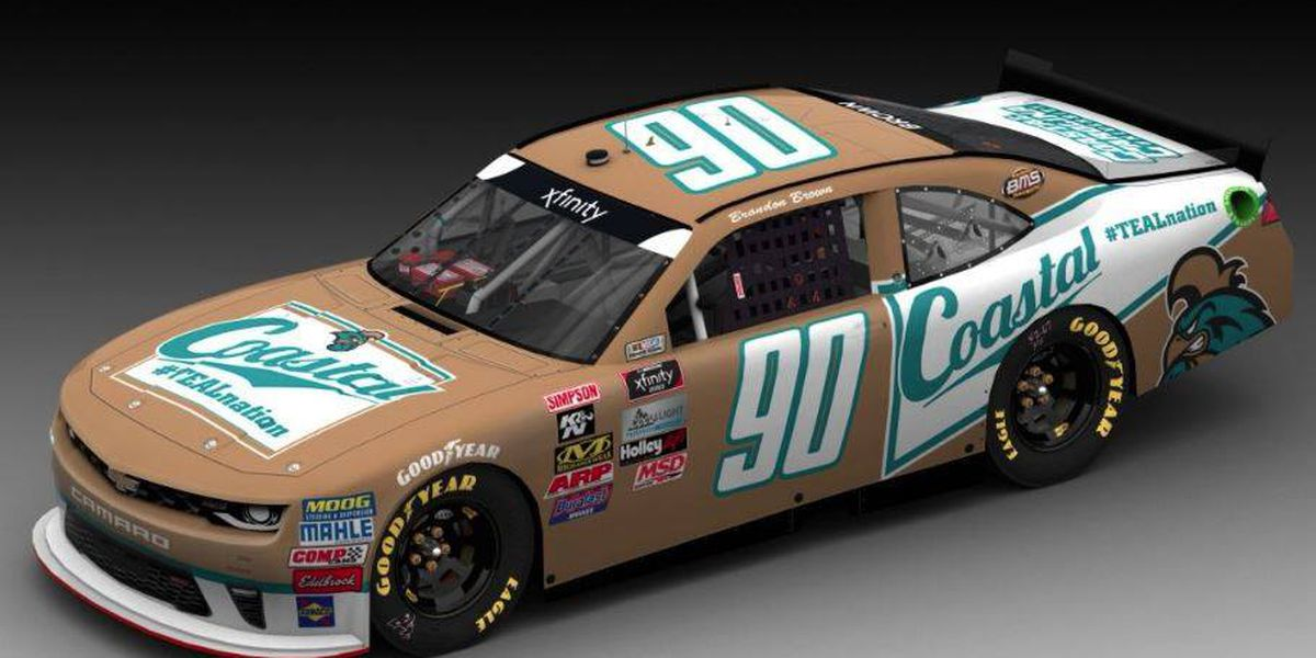CCU student repping school colors in Darlington NASCAR race