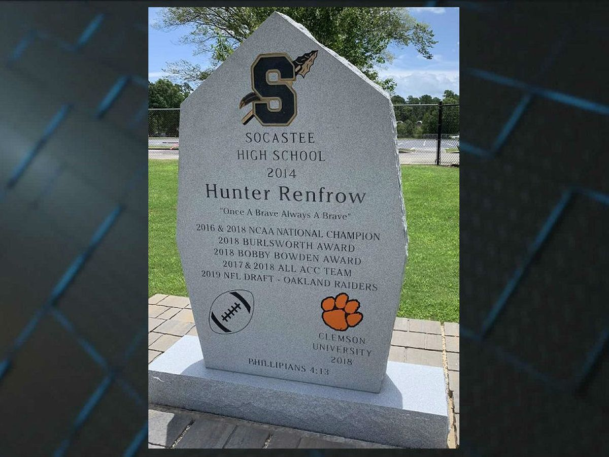 Socastee High unveils monument in honor of Hunter Renfrow