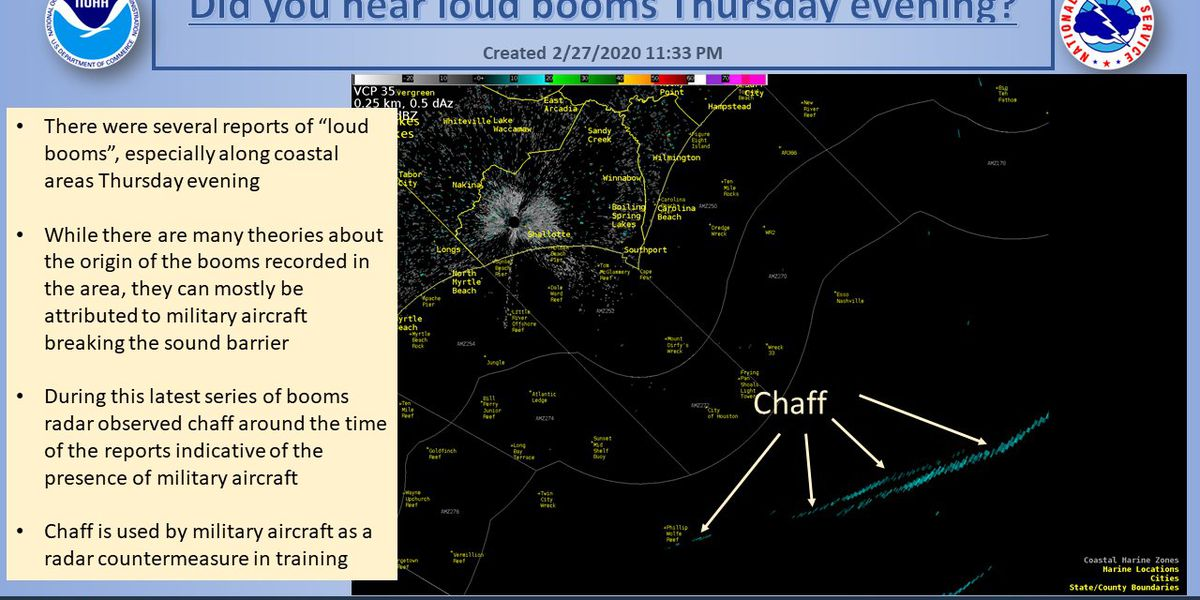 NWS reports loud boom in Little River, Longs area may have been military aircraft breaking sound barrier