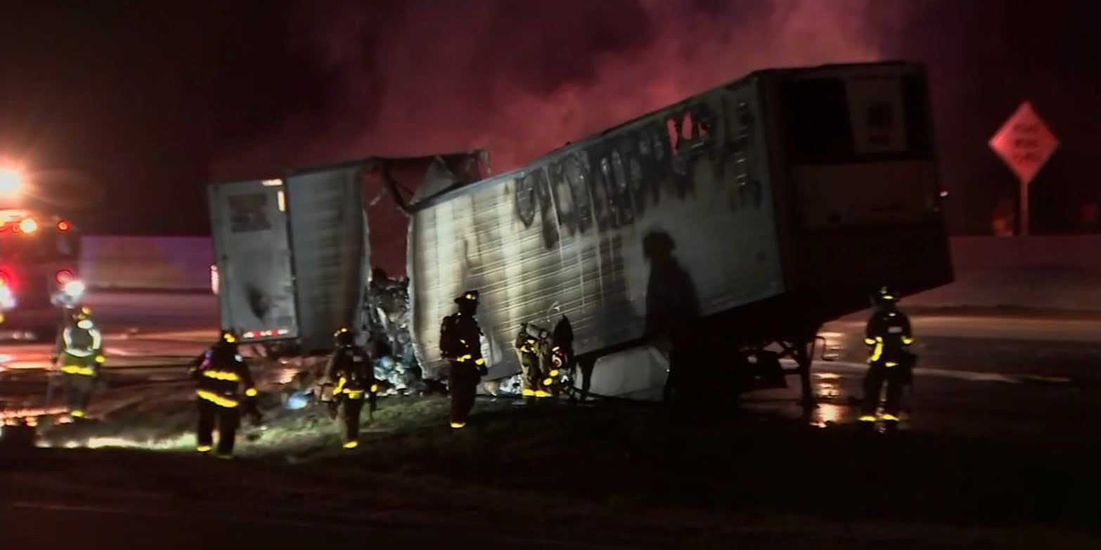 Truck hauling 40,000 pounds of chicken catches fire on GA interstate