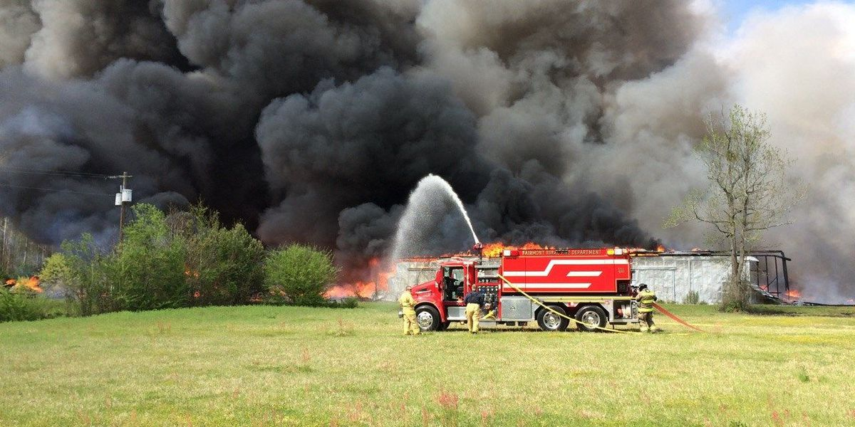 Crews battle Robeson County tobacco warehouse fire