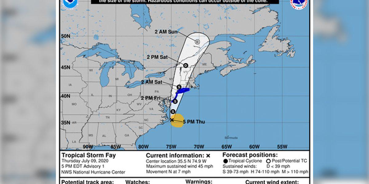 Tropical Storm Fay forms off coast of North Carolina