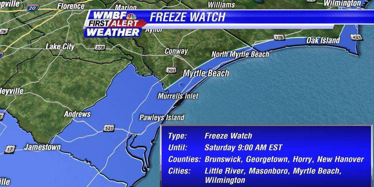 Sub-freezing temperatures likely Sat. morning - tune in at 4pm for your First Alert forecast